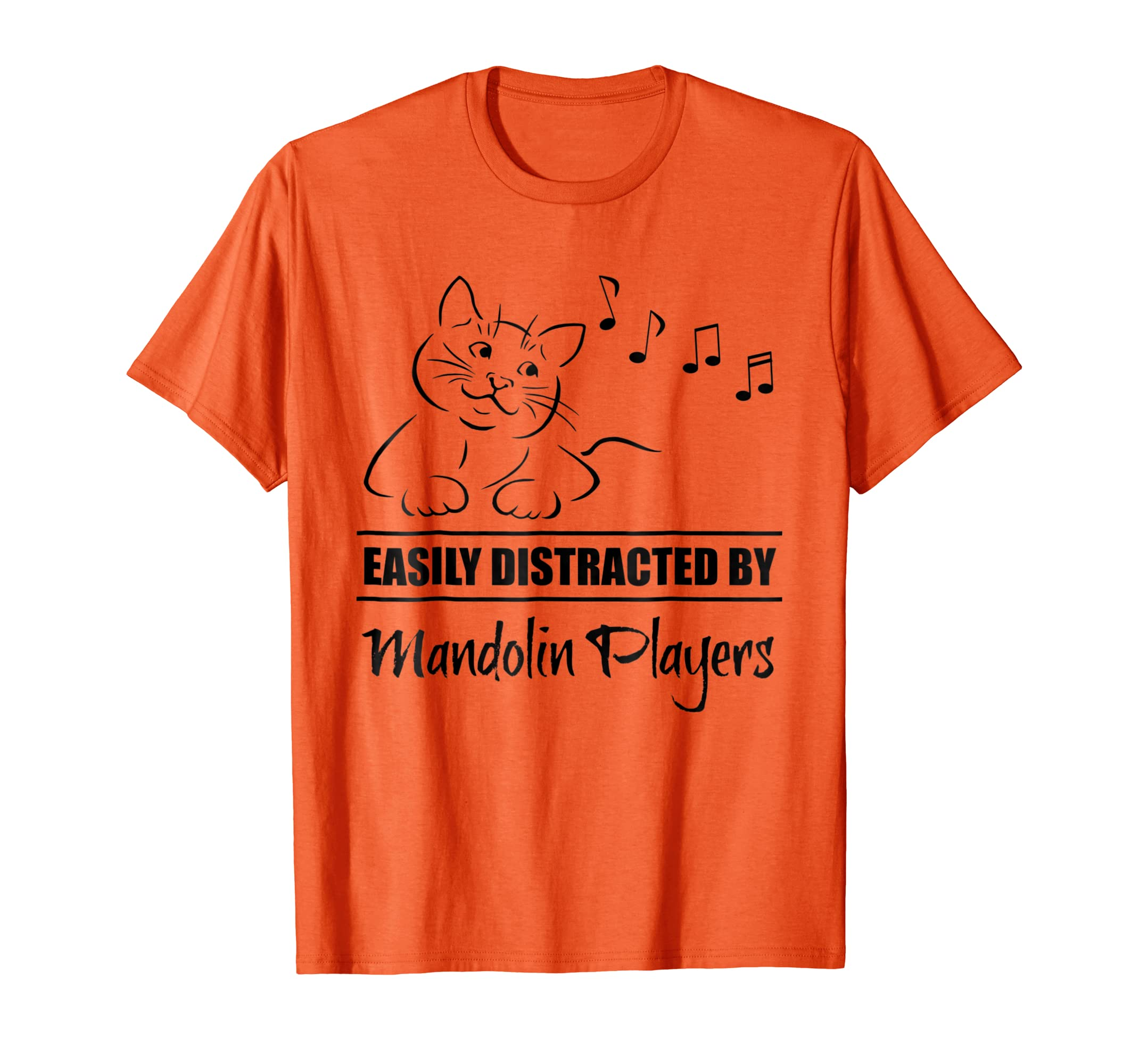 Curious Cat Easily Distracted by Mandolin Players Orange T-Shirt