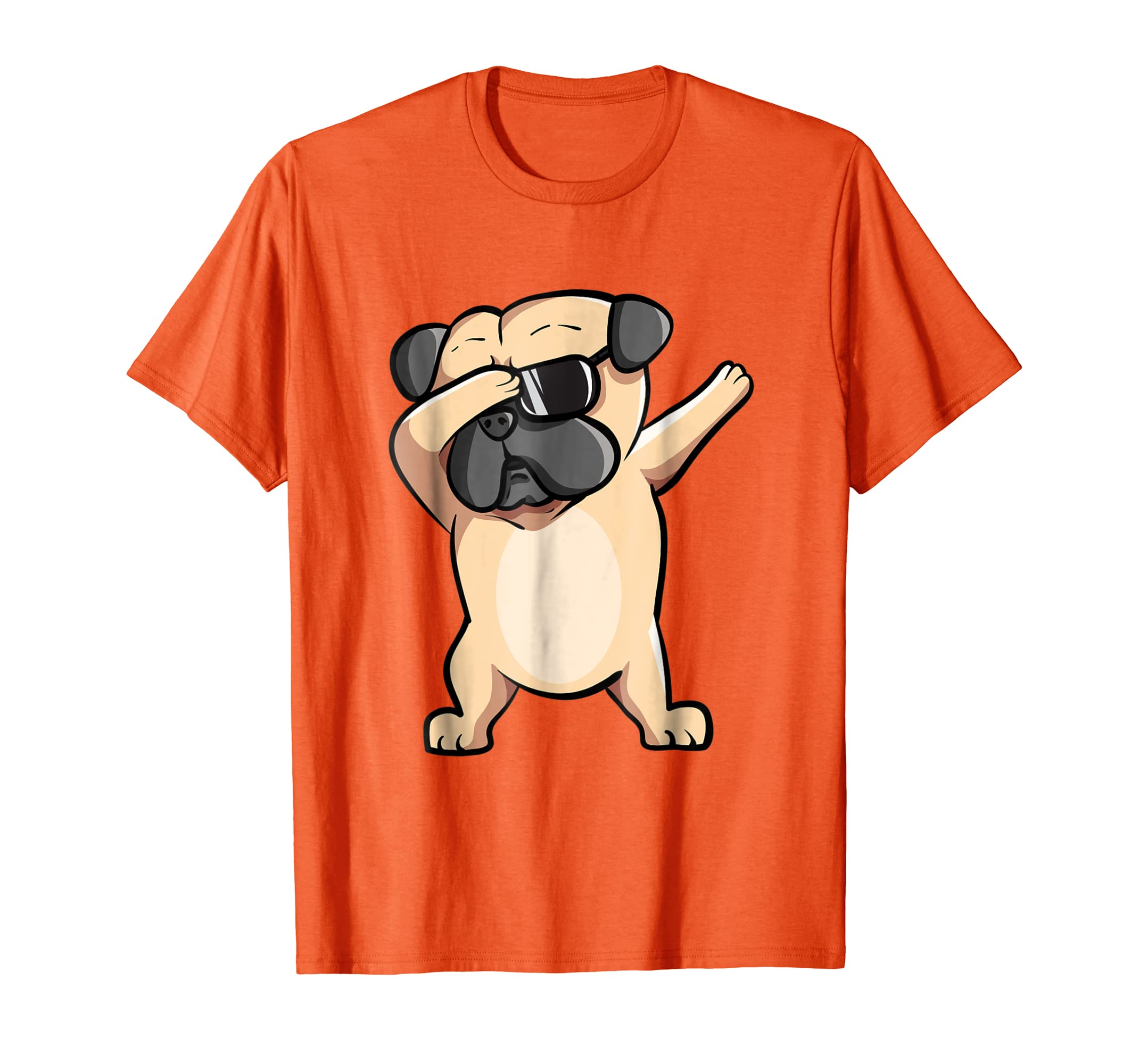 Cool Dabbing Pug Tee Shirt - Funny Dog Dab Orange T-Shirt-AZP
