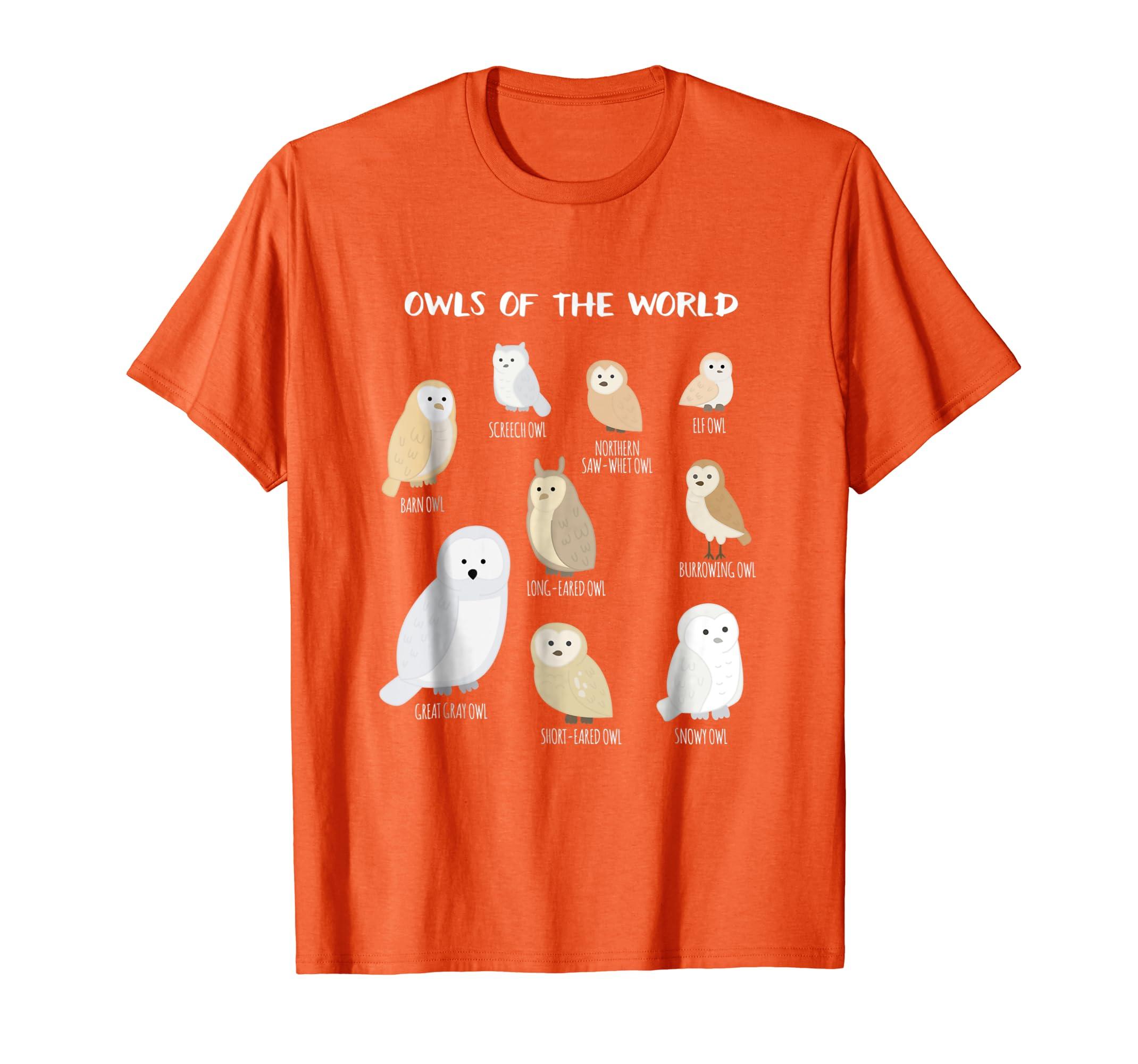 Amazon.com  Owls Of The World Funny Snowy Owl Barn Owl Bird T Shirt   Clothing e2b1ed3bab0e7