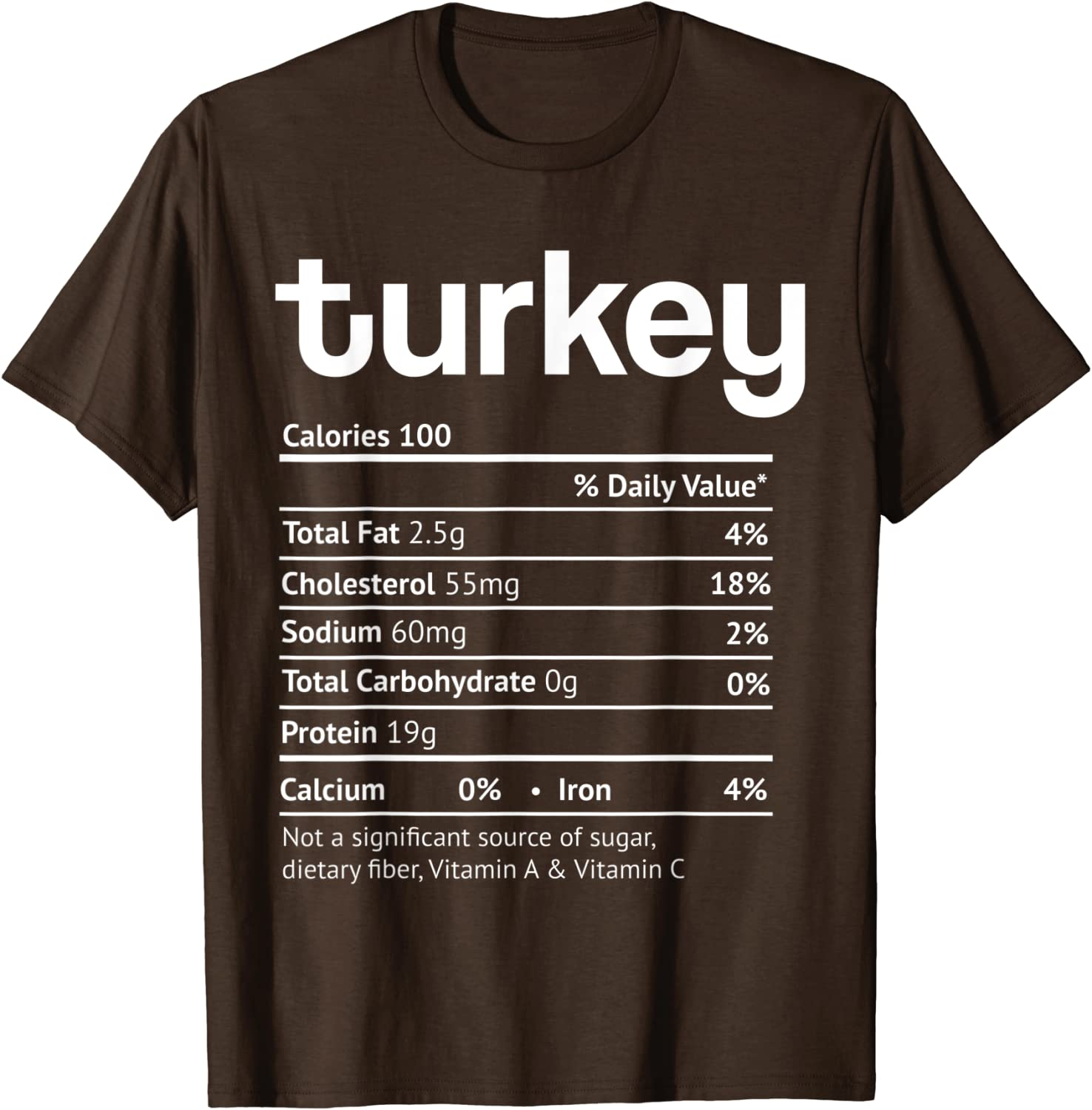 Turkey Nutrition Facts Funny Thanksgiving Christmas food T-Shirt