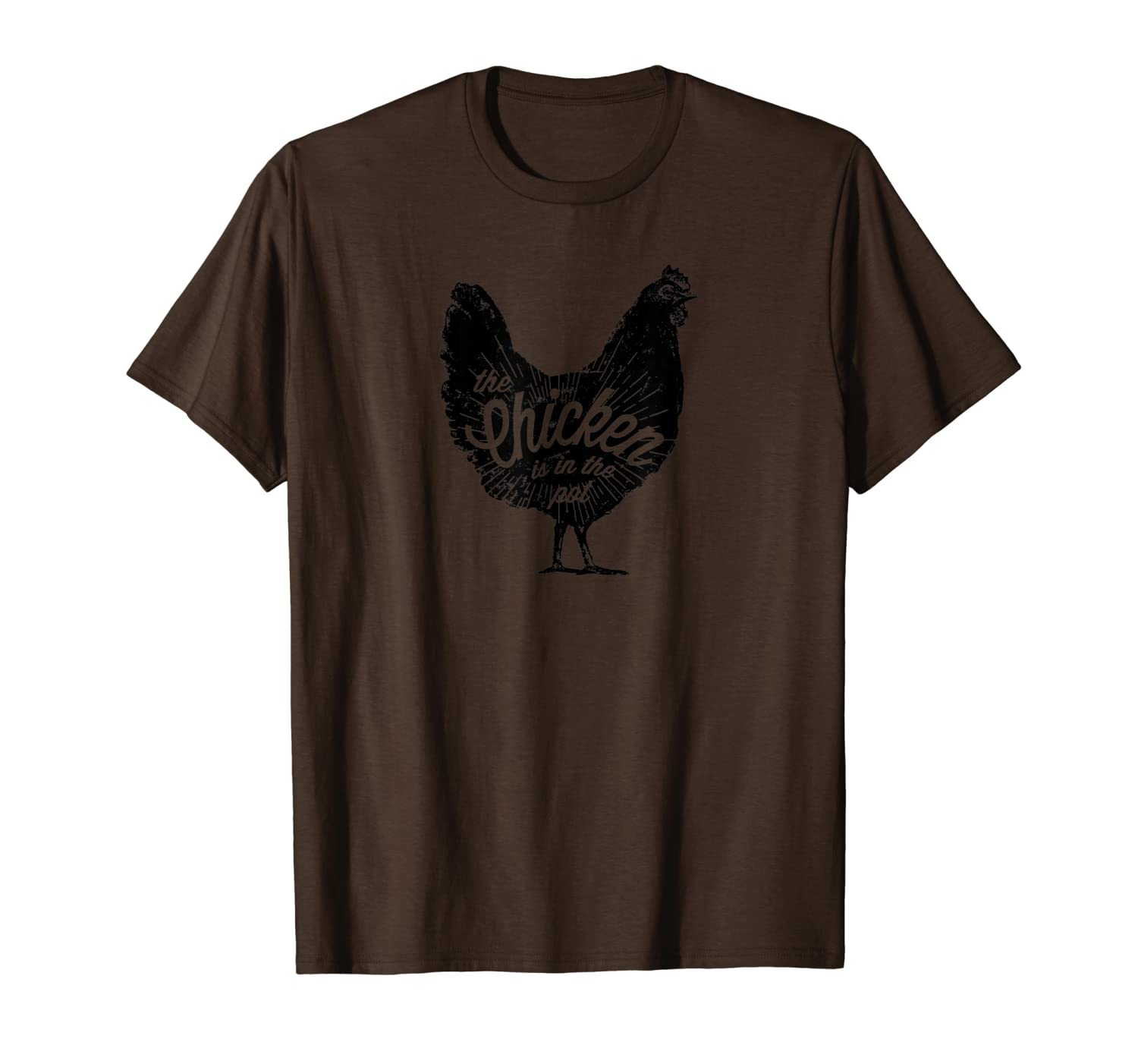 """The Chicken is in the Pot"" – vintage black design T-Shirt"