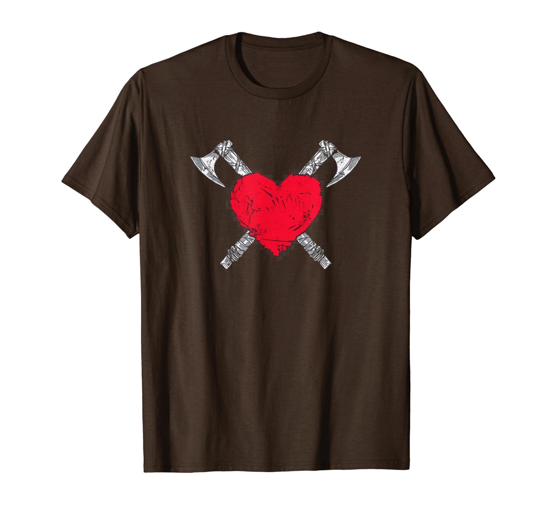 Viking Pagan Norse Mythology Axe Strong Brave Heart Blood T-Shirt-TH