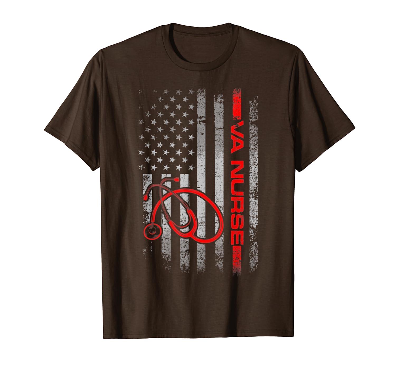 Womens American Flag VA Nurse Patriotic 4th of July T-Shirt-ANZ