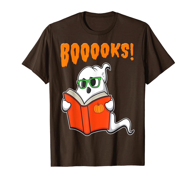 Funny Teacher Halloween - Ghost Books Reading Class T-Shirt-TH