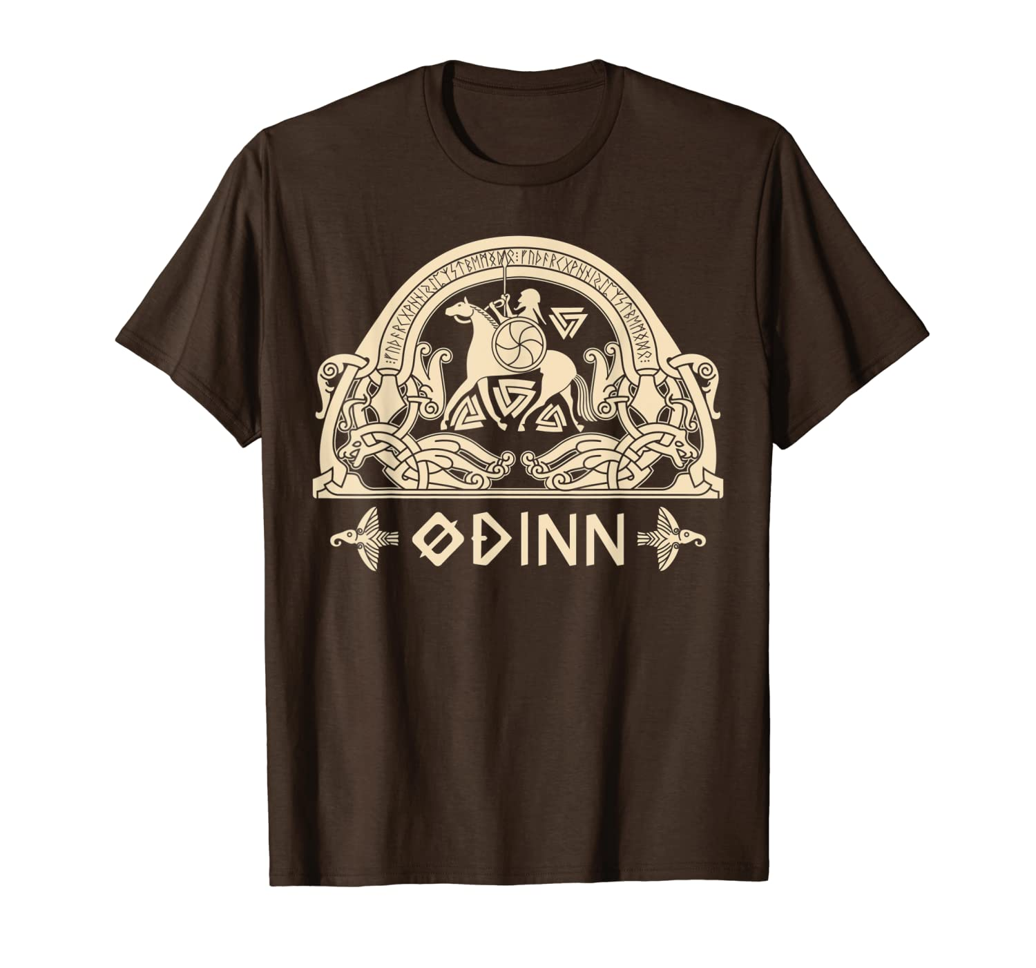 Odin Viking on Sleipnir and Twin Ravens Norse Mythology Gift T-Shirt-TH