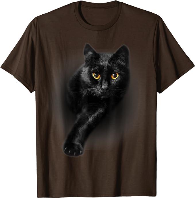 Cool Cat Face Mens Long Sleeve Tshirt Eyes Black Cat Tee 1022C
