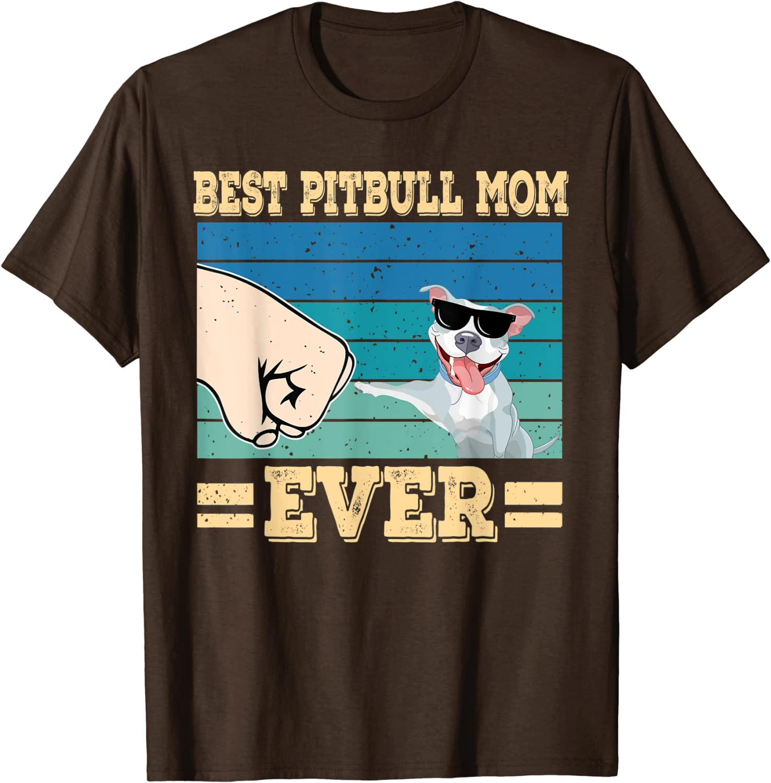 Best Pitbull Mom Retro Vintage Sunglasses Funny Dog Owner T-Shirt-TH
