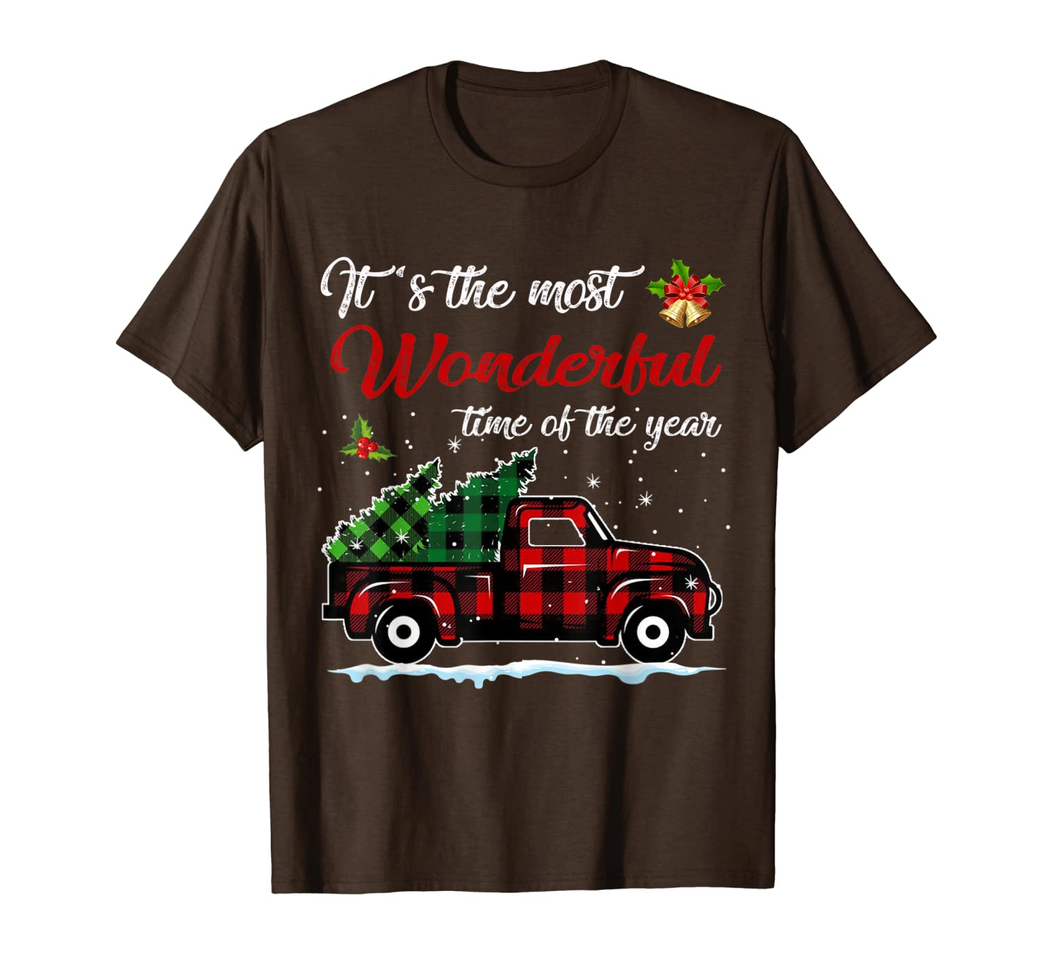 Red Plaid Truck and Christmas Tree -Truck Christmas T-Shirt
