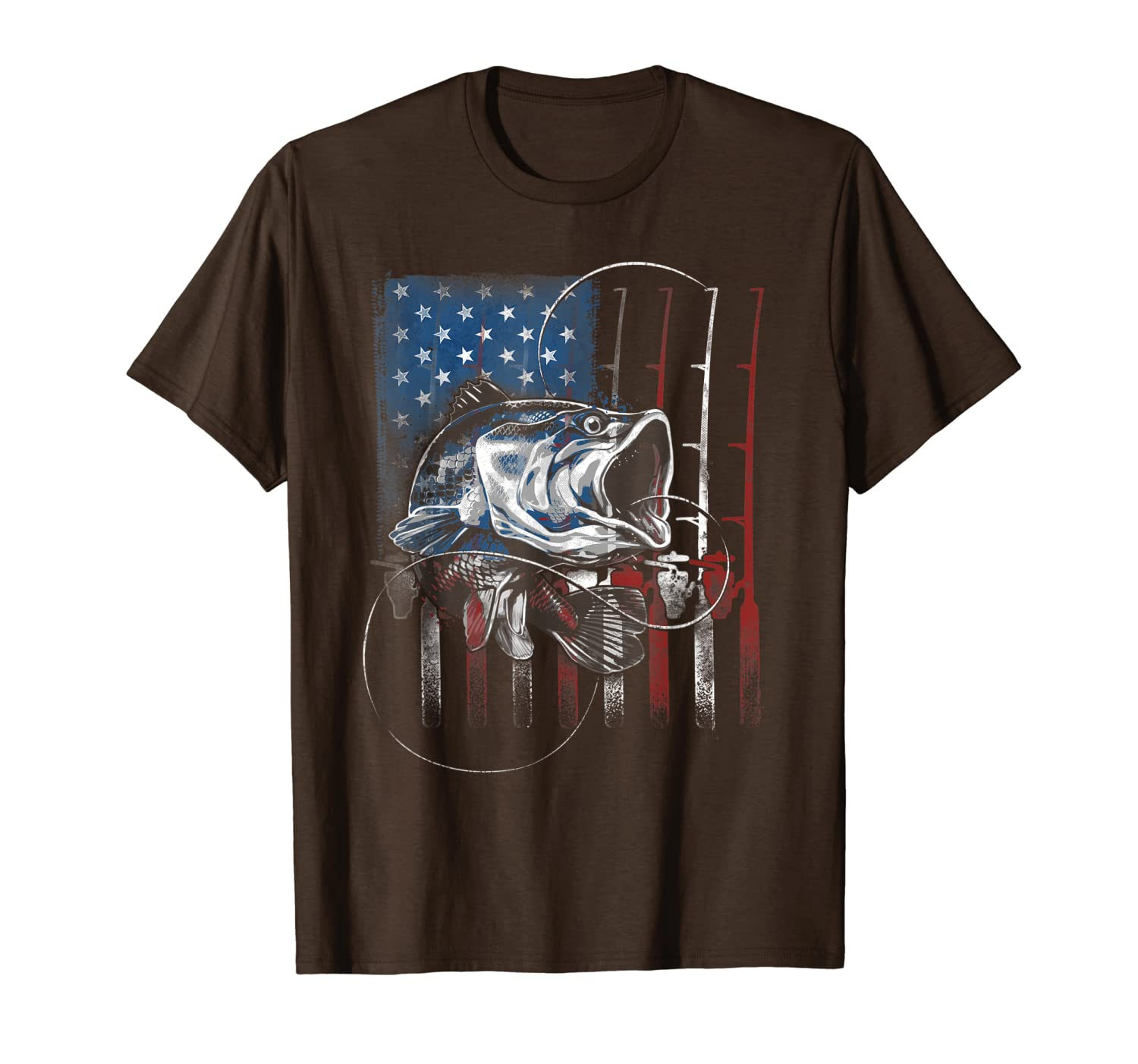 Fishing American Flag Vintage Tshirt USA Bass Fisherman Gift Unisex Tshirt