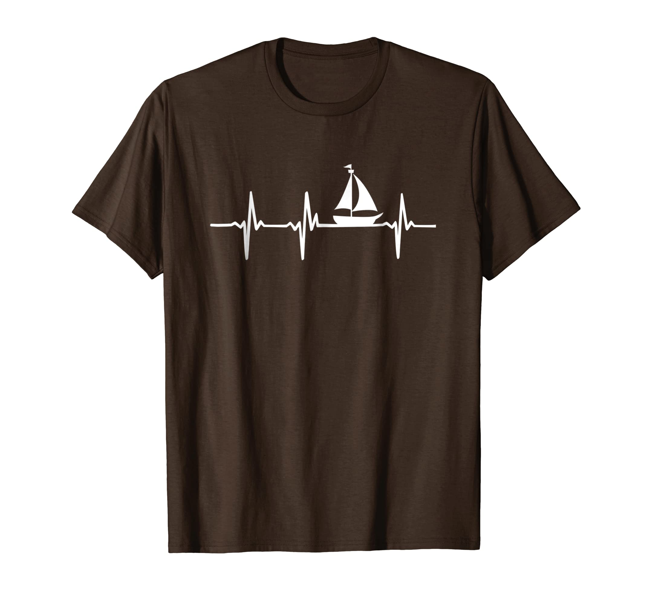 Heartbeat Sailing T-Shirt For Sailors With Sailboat-Yolotee