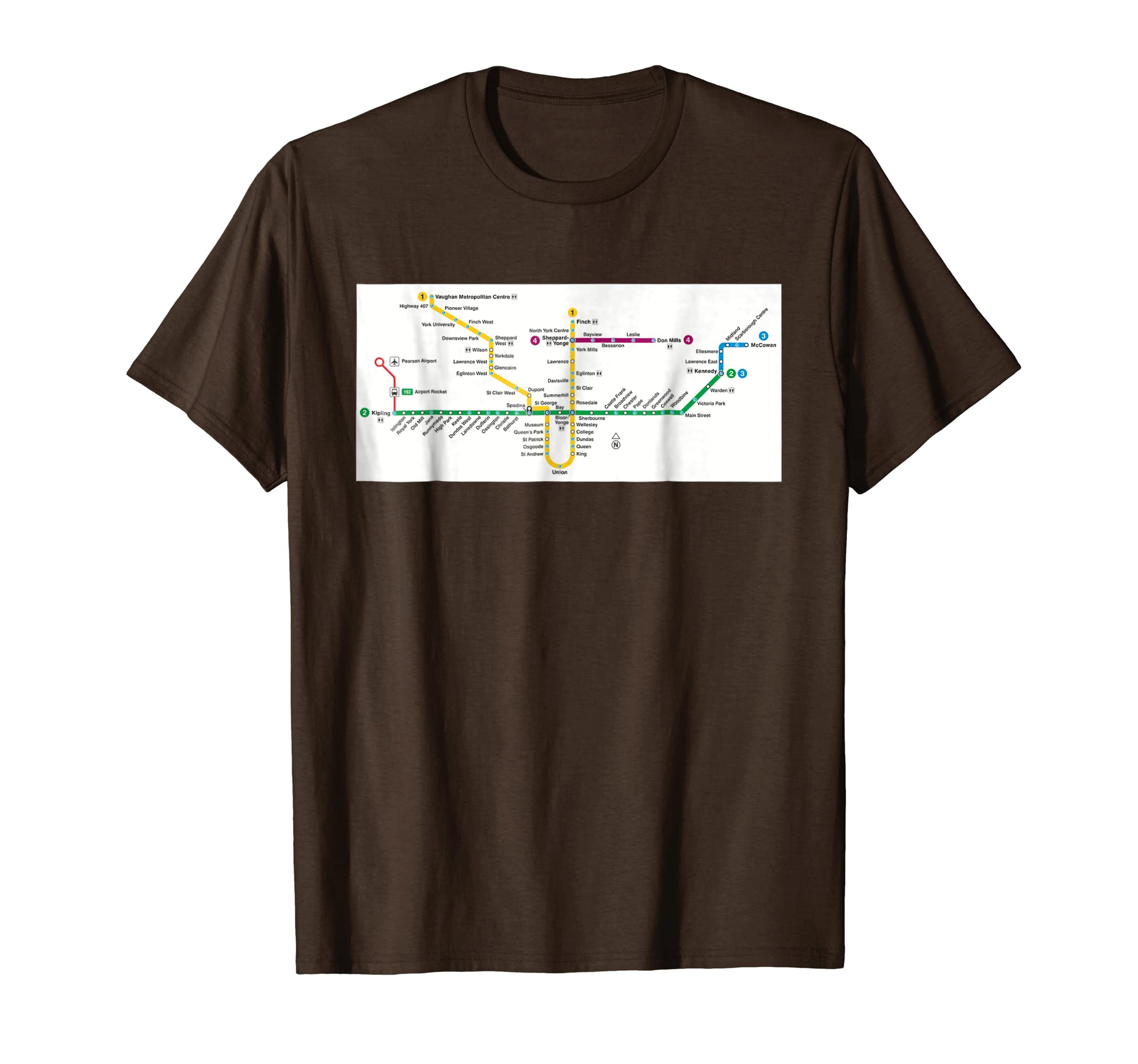Subway Map Canada Toronto.Amazon Com Toronto Subway Map Canada T Shirt Clothing