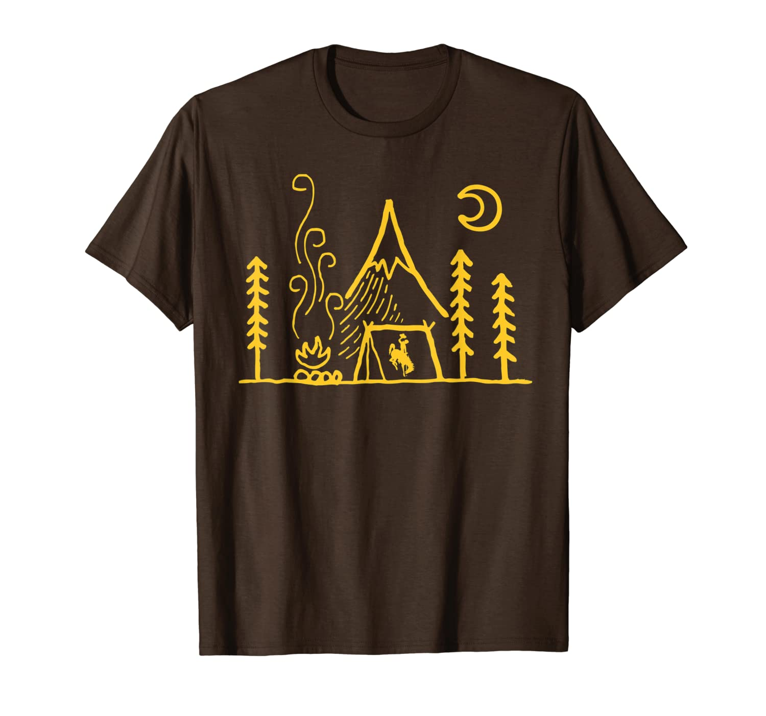 Wyoming Cowboys Camping - Simple Tent T-Shirt - Apparel-ANZ