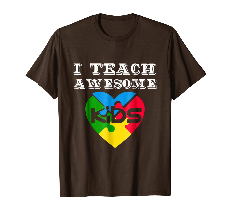 aee7fc47b Amazon.com: I Teach Awesome Kids Autism Awareness Gift T-Shirt: Clothing