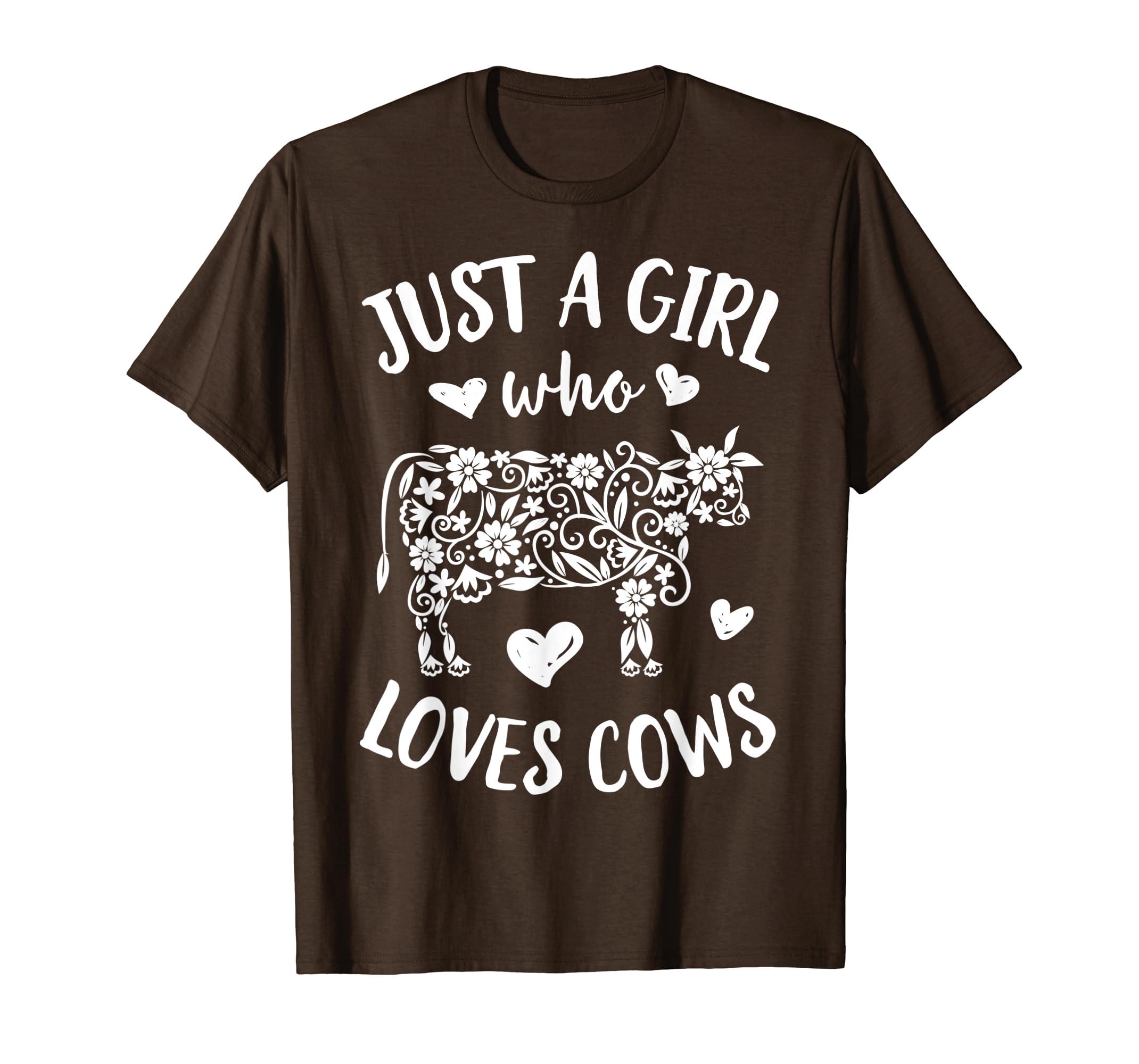 f3a760c03a Just A Girl Who loves Cows T shirt Cow Lover Farm Women Gift