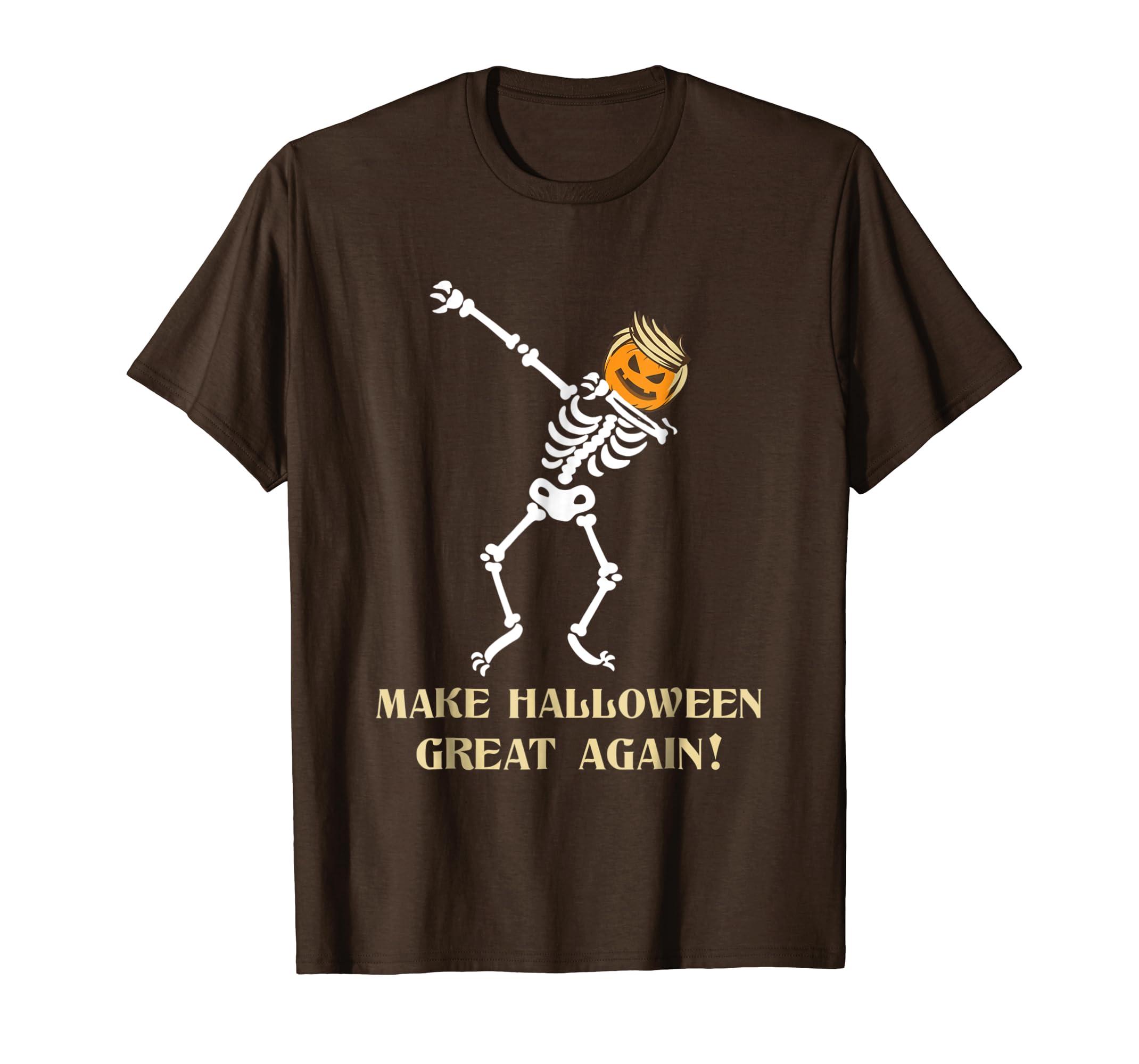 Dabbing skeleton Trumpkin face Halloween Funny T-Shirt-SFL