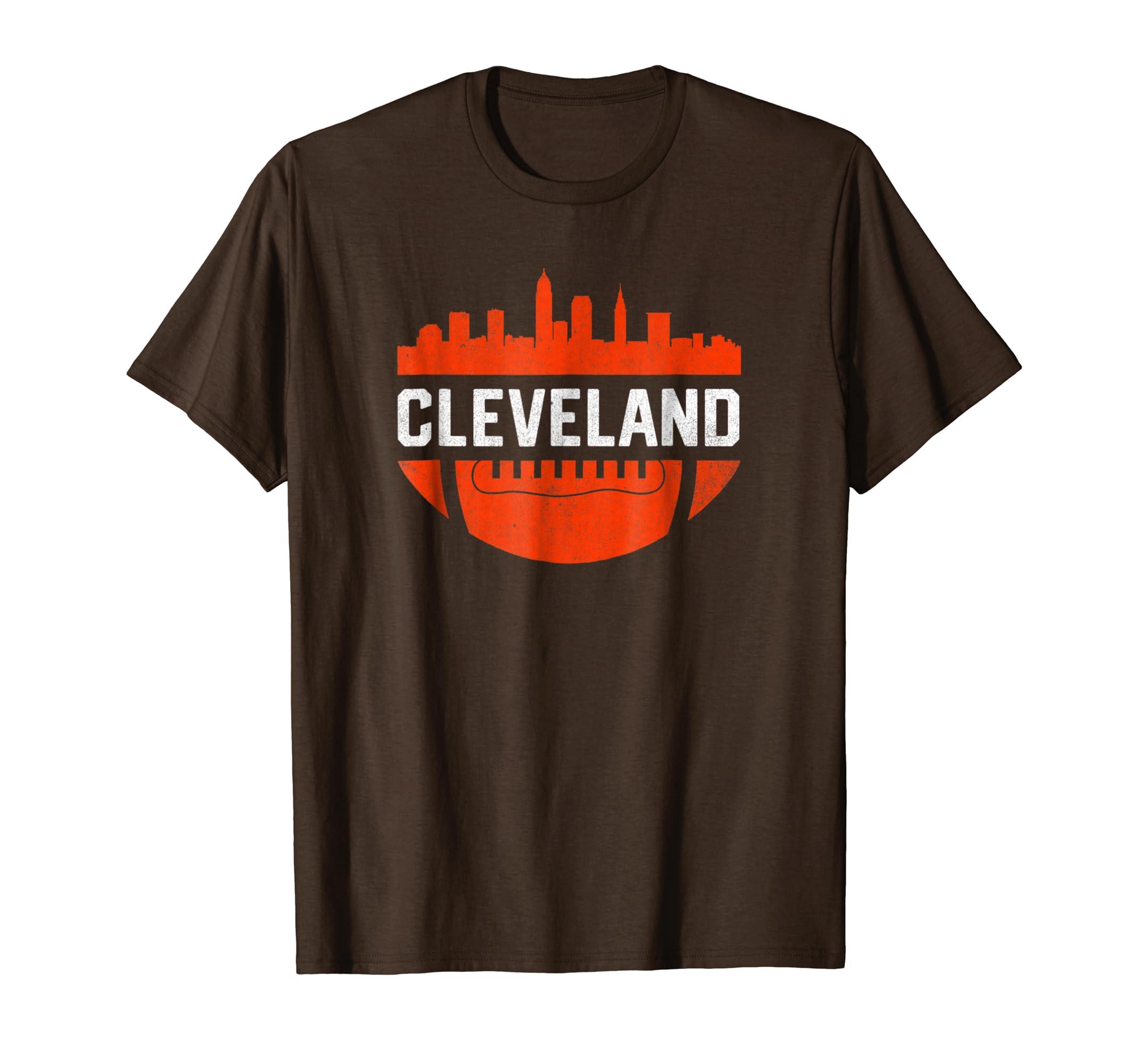 775245a44184 Amazon.com: Vintage Downtown Cleveland Ohio Skyline Football T-Shirt:  Clothing