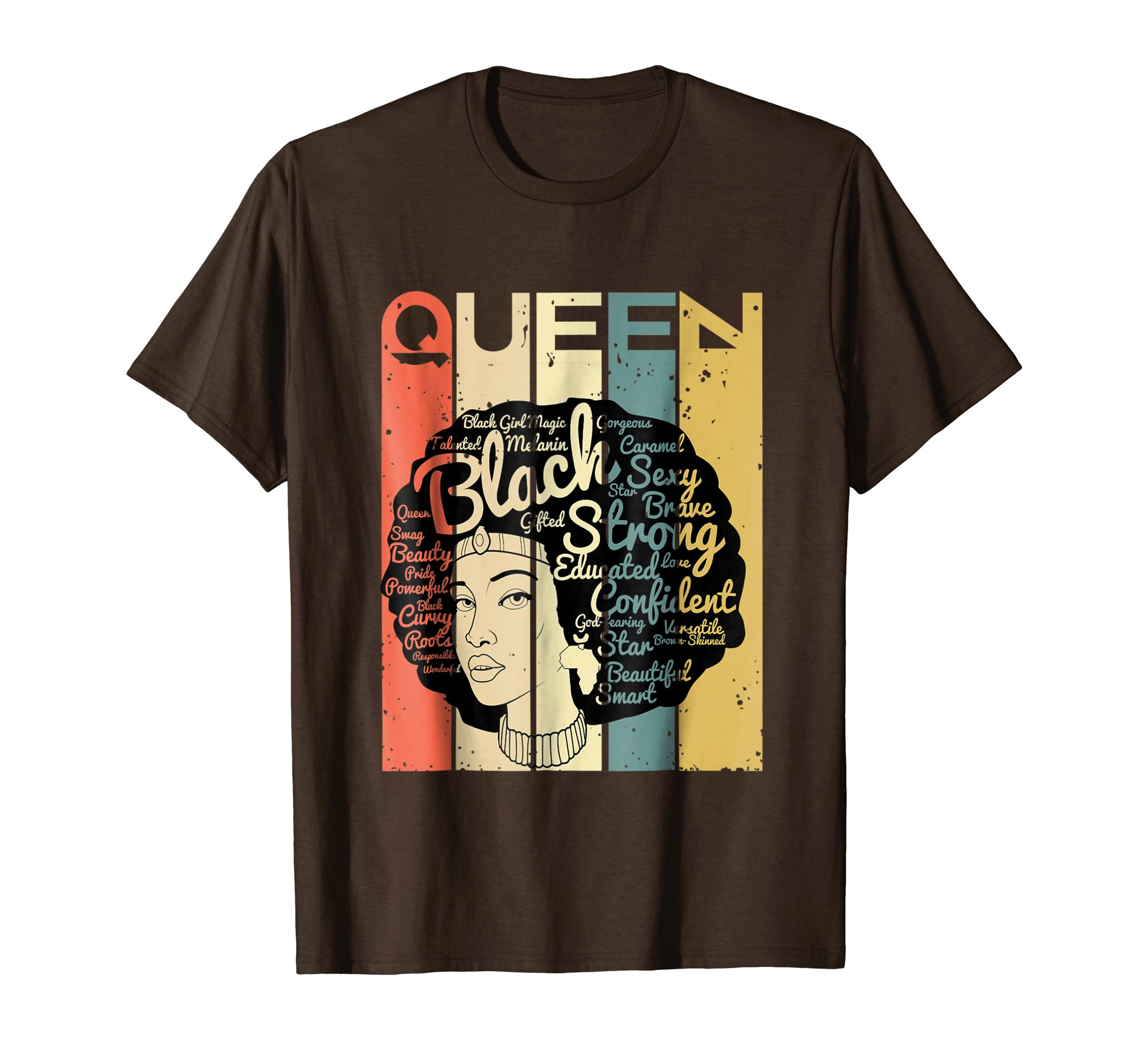 Afro Natural Hair Queen Woman T-Shirt Black Queen Retro Tee-SFL