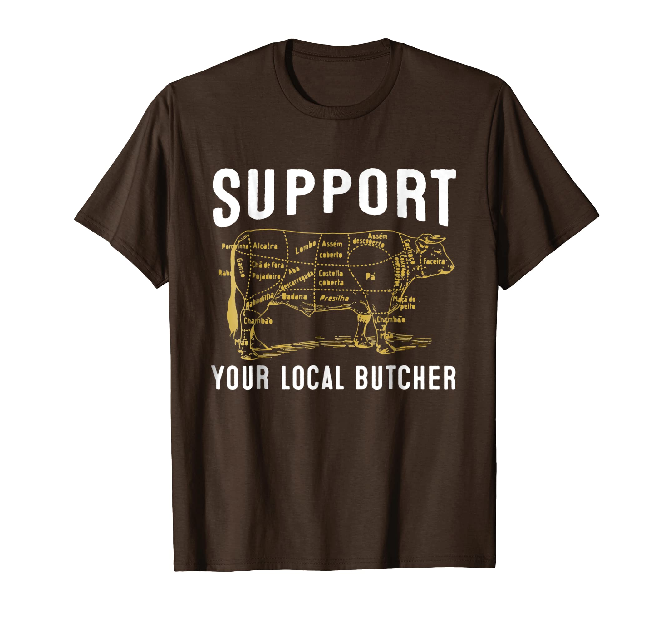 Support Your Local Butcher Tshirt   Cow-azvn