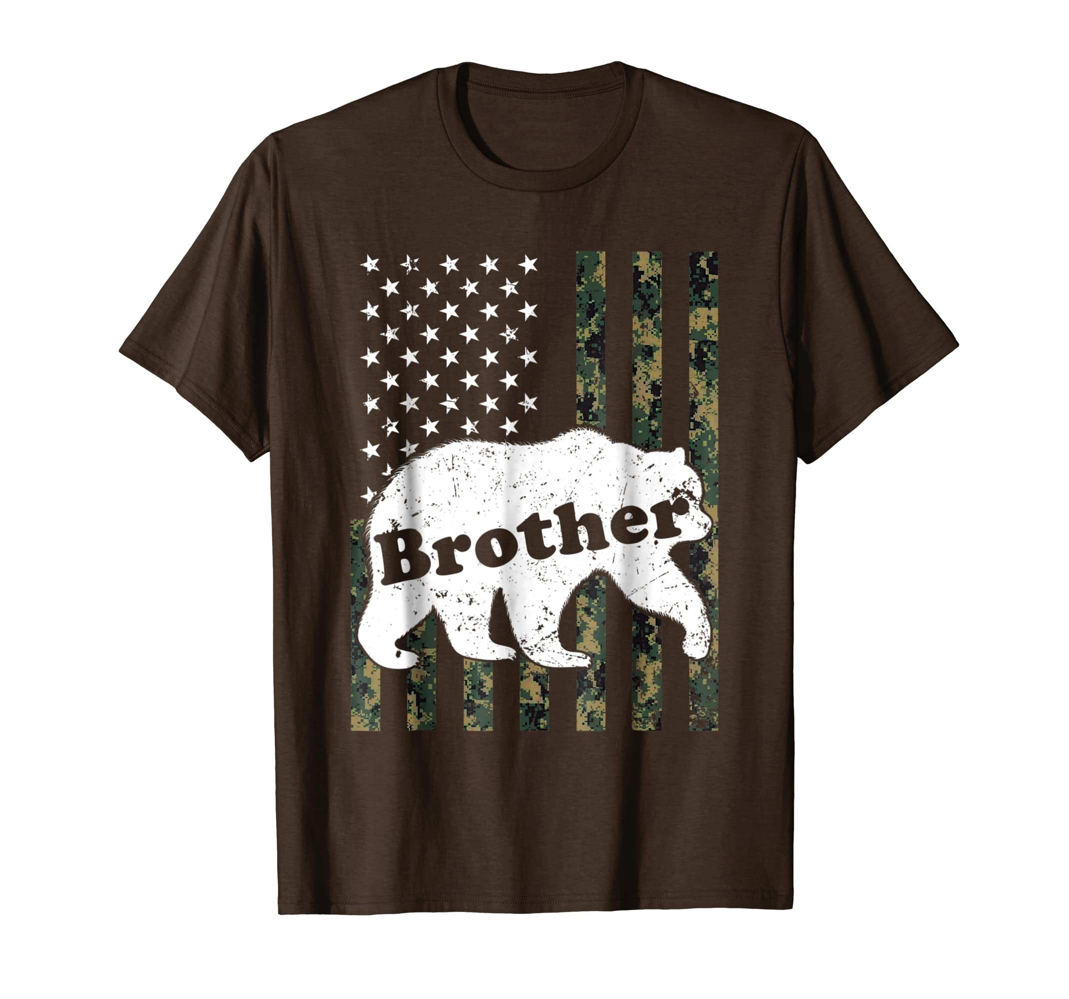 Mens Mens Brother Bear T-Shirt Camouflage USA American Flag-SFL