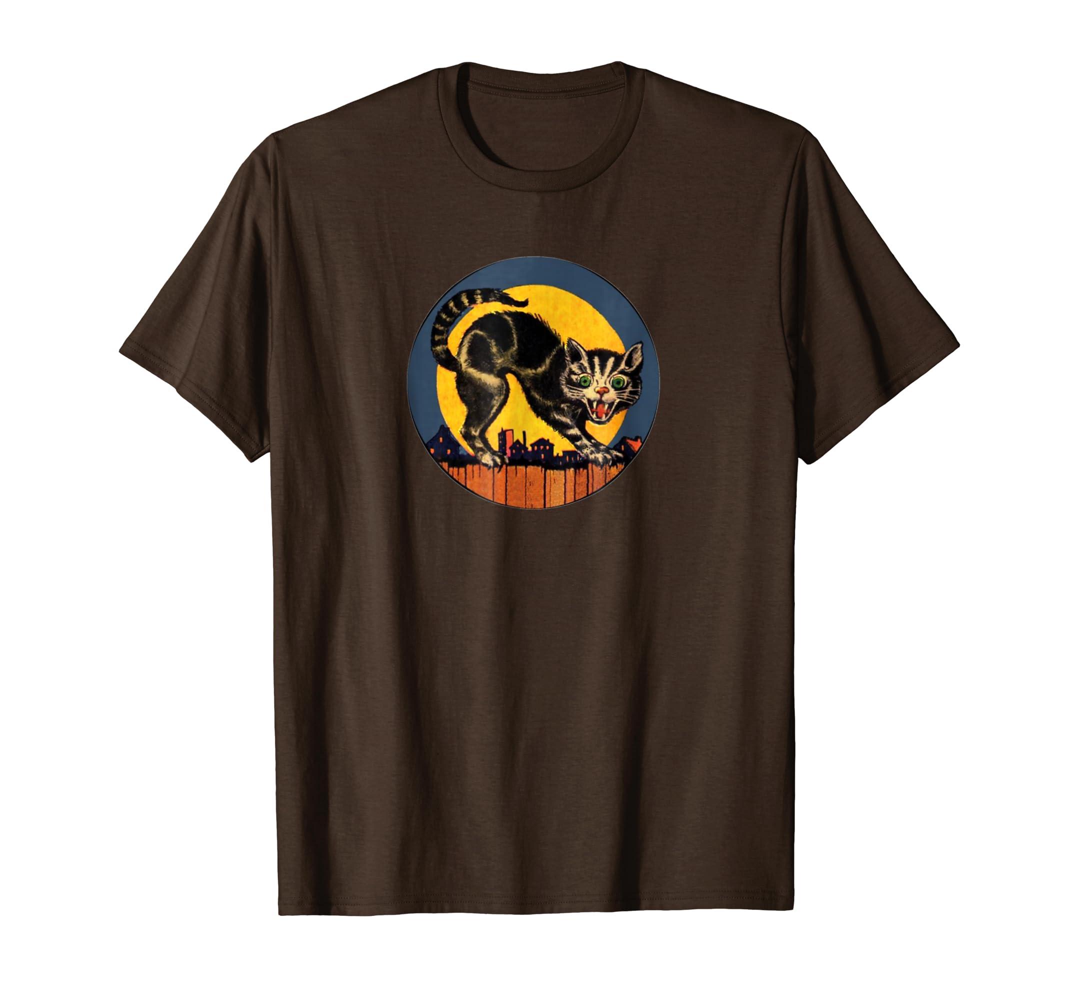 Vintage Halloween Cat T Shirt It's retro spooky-Bawle