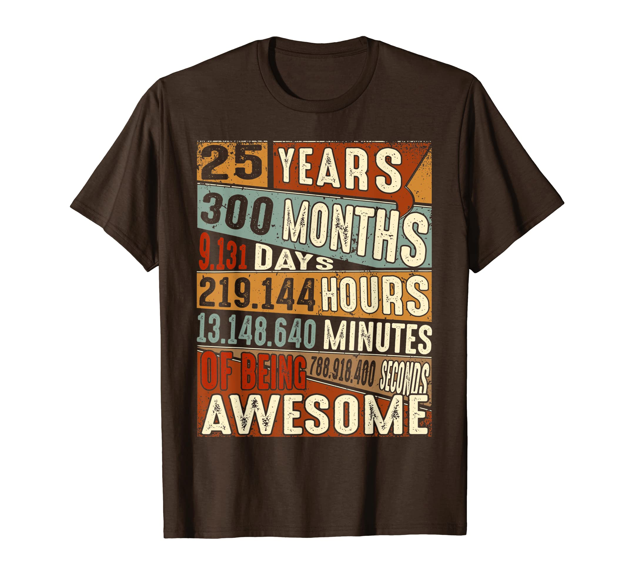 Amazon Vintage 25 Years Old 25th Birthday Gifts 300 Months T Shirt Clothing