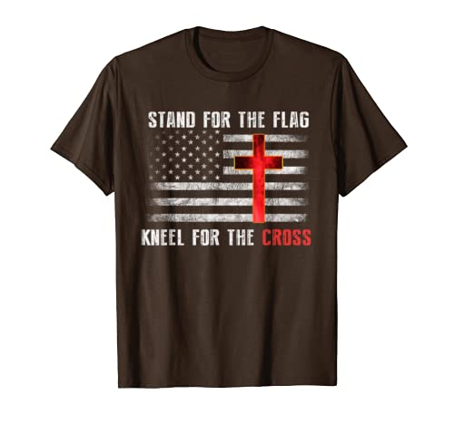 """Stand For The Flag, Kneel For The Cross"" Christian T-Shirt"