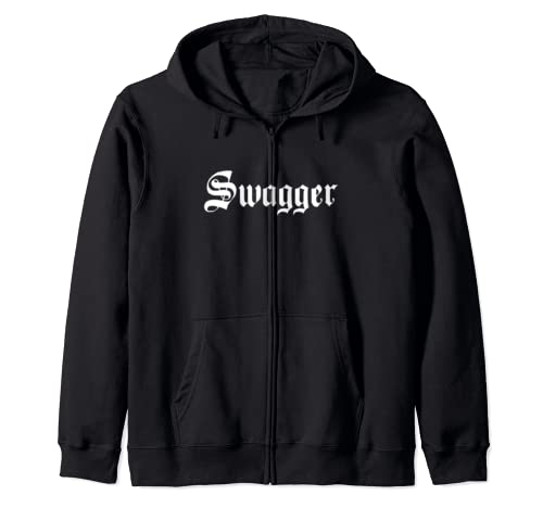 Swagger Calligraphy Text Old School Graphic White Text Zip Hoodie