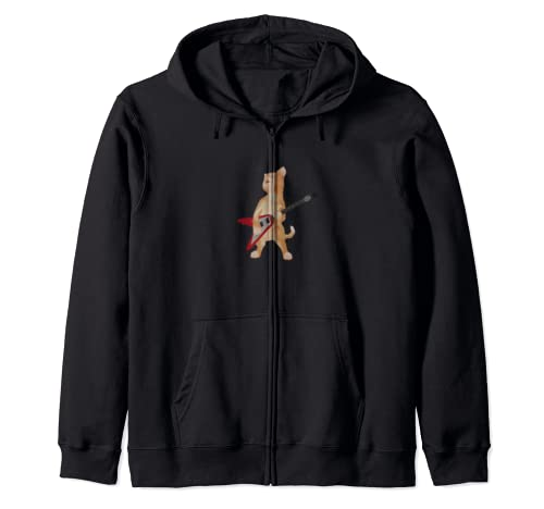 Cat Playing Flying V Guitar Iconic Ironic Zip Hoodie