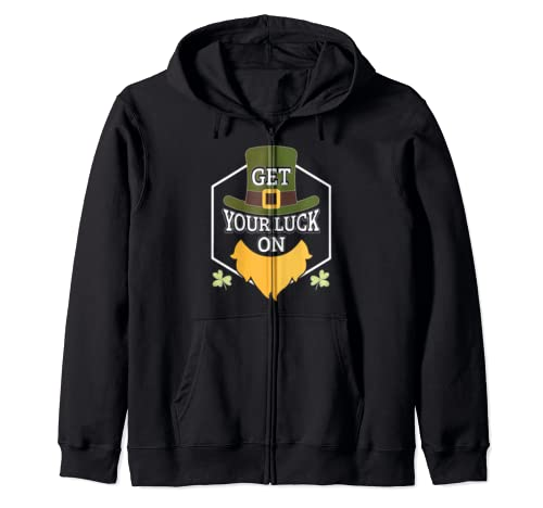 Get Your Luck On St. Patrick's Day Clover Leaf Zip Hoodie