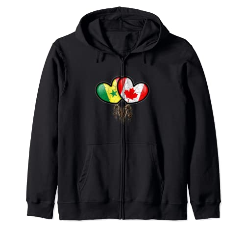 Senegalese Canadian Flags Inside Hearts With Roots Zip Hoodie