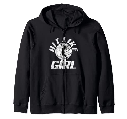 Hit Like A Girl Volleyball Funny  Zip Hoodie