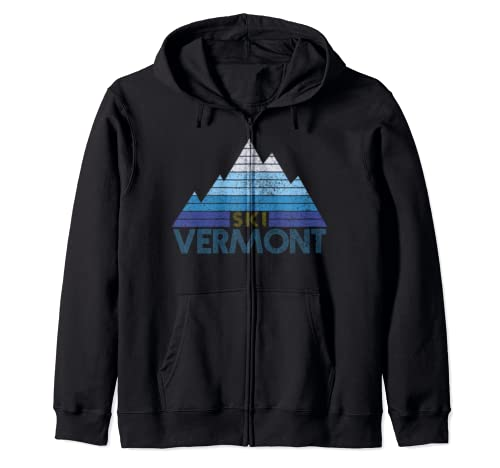 Vermont Ski Vintage Mountain Winter Sports Skiing Souvenir Zip Hoodie