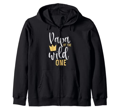 Papa Of The Wild One 1st Birthday First Thing Matching Dad Zip Hoodie