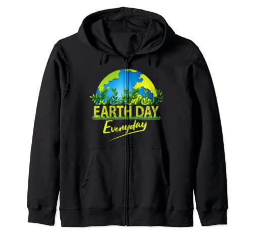 Earth Day Every Day Global Warming Climate Change Awareness Zip Hoodie