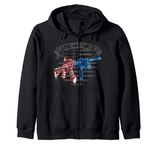 Come And Take It Usa Flag Ar 15 Gun Shirt 2 A Pro Gun Rights  Zip Hoodie
