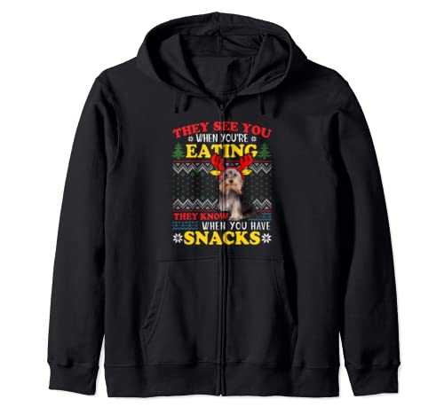 Yorkshire Terrier Ugly Christmas They See You're Eating Xmas Zip Hoodie