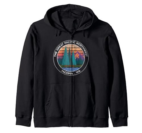 Retro Pnw Pacific Northwest Vintage Tacoma Wa Zip Hoodie