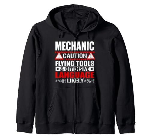 Caution Flying Tools Offensive Language Gift Idea Mechanic  Zip Hoodie