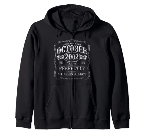 October 2002 Aged Perfectly 17th Birthday Celebration Faded Zip Hoodie