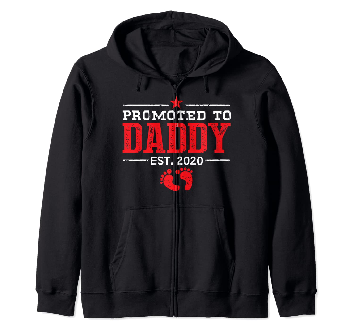 Promoted To Daddy Est 2020 New Dad Father's Day Gift Zip Hoodie