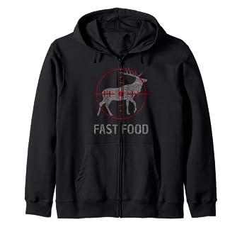 Amazon Com Funny Fast Food Deer Hunting Bow Hunter Tee Hunters Gift Zip Hoodie Clothing