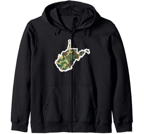 West Virginia Home Shirt, Hunting Gear, Camo Map Apparel Zip Hoodie