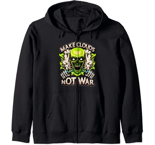 Make Clouds Not War Vaping Green Skull Steaming Hot Vape Mod Zip Hoodie