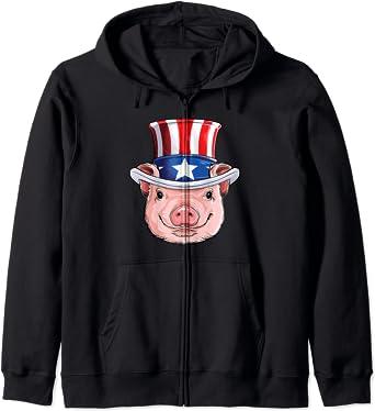 Pig 4th of July Uncle Sam Men Women USA American Flag Hat Zip Hoodie