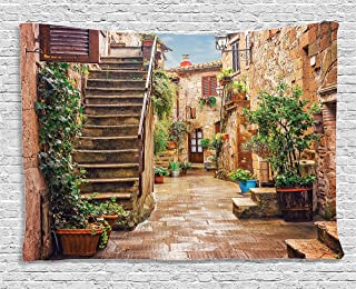 Ambesonne Italian Tapestry, View of Old Mediterranean Street with Stone Rock Houses in Italian City Rural Print, Wide Wall Hanging for Bedroom Living Room Dorm, 80