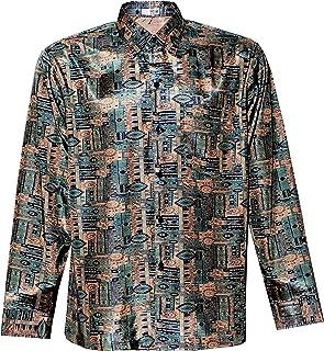 Thai Silk Men's Shirt Long Sleeve Eyes Graphic Pattern