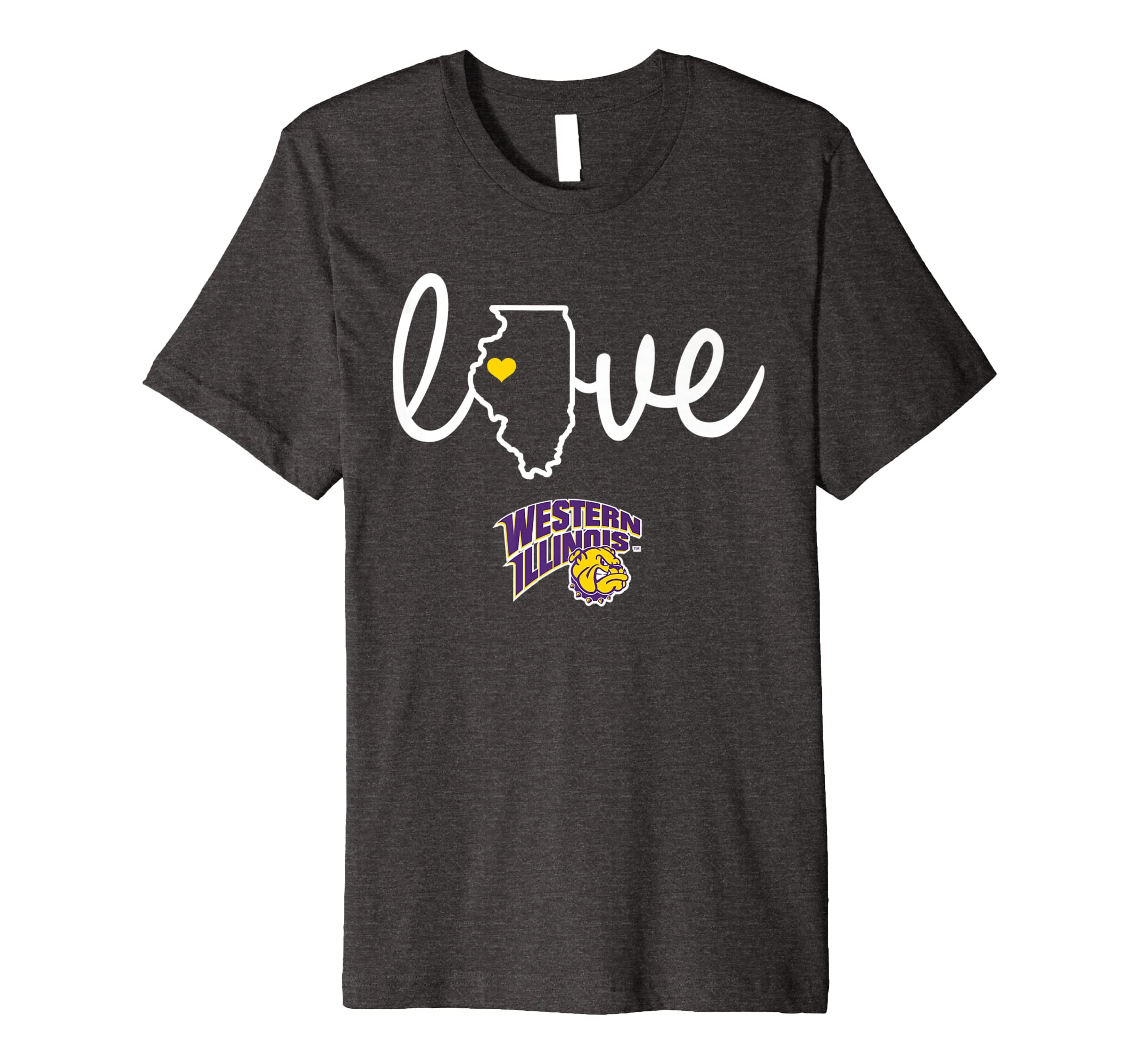 innovative design ad3b0 ebd76 Amazon.com: Western Illinois Leathernecks State Love T-Shirt ...