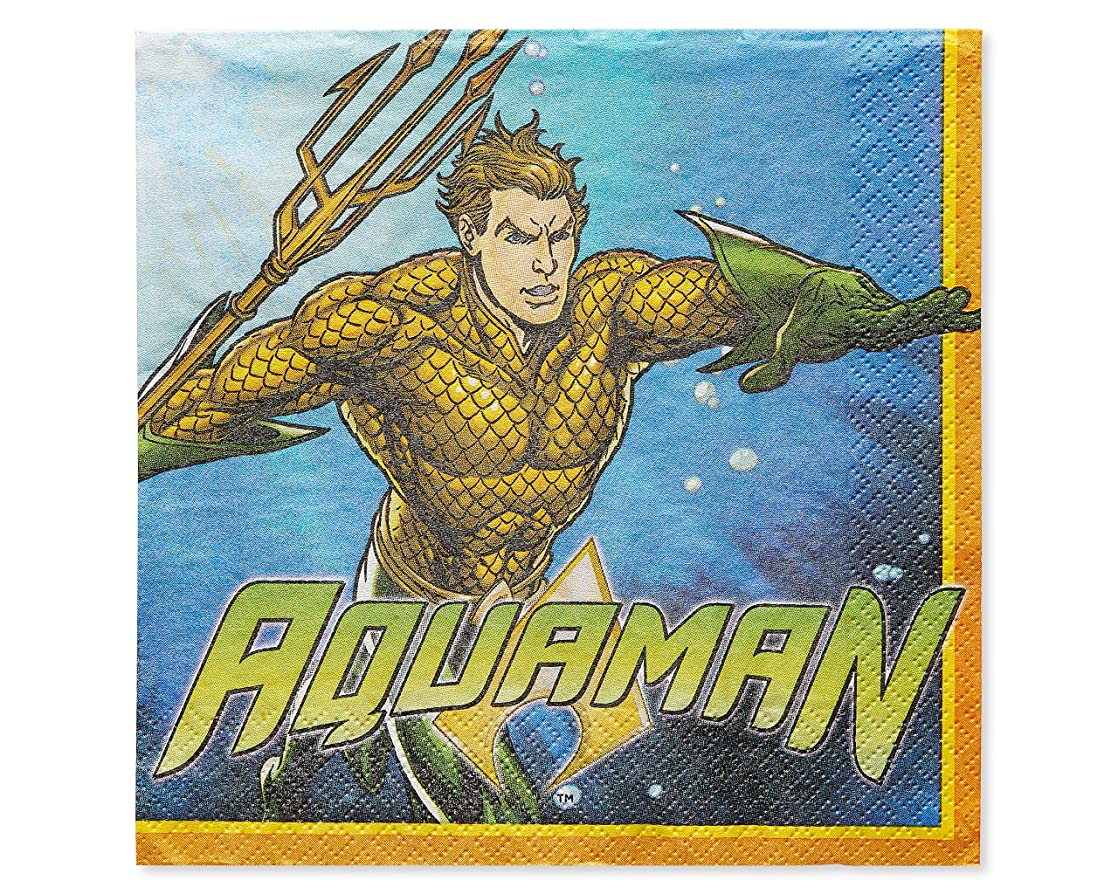 Aquaman Lunch Napkins, 16-Count lmrwatih05071
