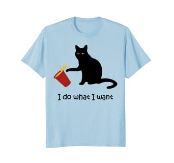 Amazon.com: I Do What I Want gato negro rojo taza Graphic ...
