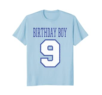 Birthday Boy 9 T Shirt Jersey Print White And Blue